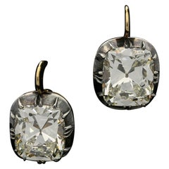 Unique 41.78 Carat of Cushion Cut Diamond Earrings Each Stone 21.24ct & 20.54ct
