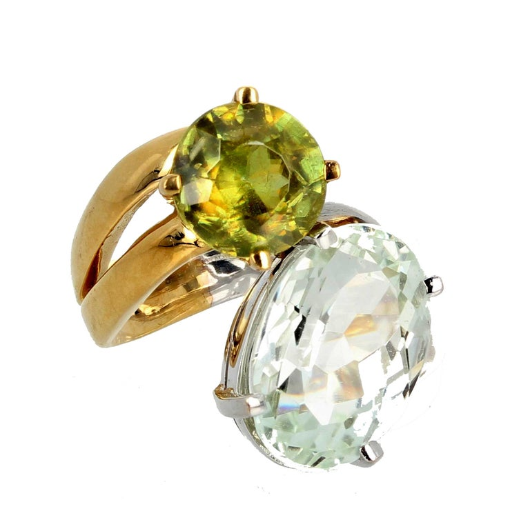 Unique 6.8 Carat Amblygonite and 2.2 Carat Sphene Gold Ring In New Condition For Sale In Tuxedo Park , NY