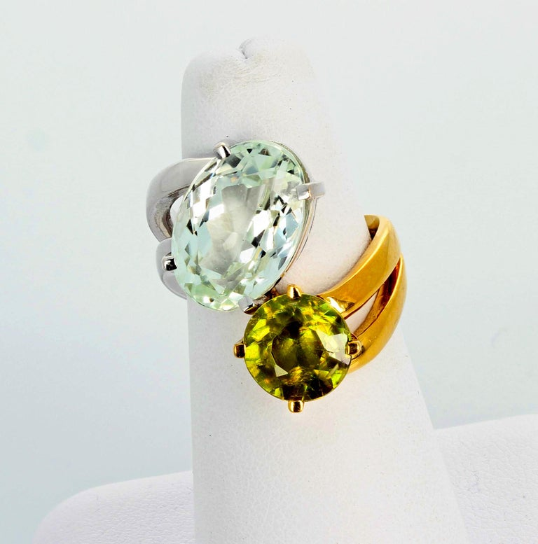 Women's or Men's Unique 6.8 Carat Amblygonite and 2.2 Carat Sphene Gold Ring For Sale