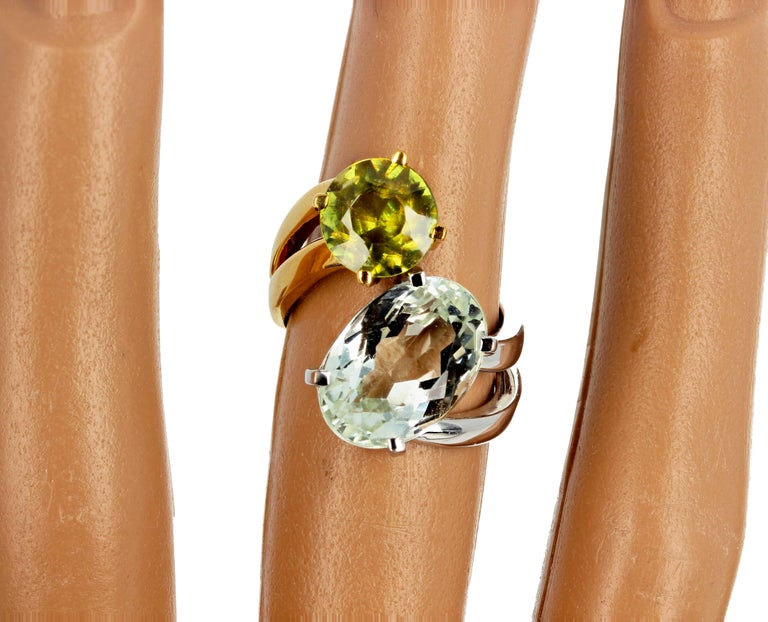 Unique 6.8 Carat Amblygonite and 2.2 Carat Sphene Gold Ring For Sale 2
