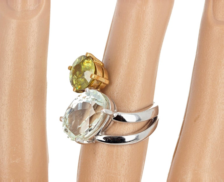 Unique 6.8 Carat Amblygonite and 2.2 Carat Sphene Gold Ring For Sale 5