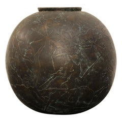 Unique Abstract Textured Bronze Circular Vase