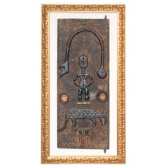 Unique Africain Wall Mounted Wooden Tribal Sculpture / Object, Golden Frame