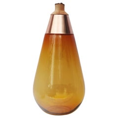 Unique Amber and Copper Sculpted Blown Glass, Pia Wüstenberg