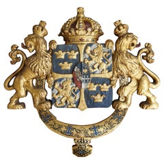 Unique and Antique Hand Carved and Gilt Wooden Coat of Arms or Crest of Sweden