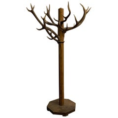 Unique and Antique Oak and Real Antlers Entry Hall Floor Coat Rack and Hat Stand