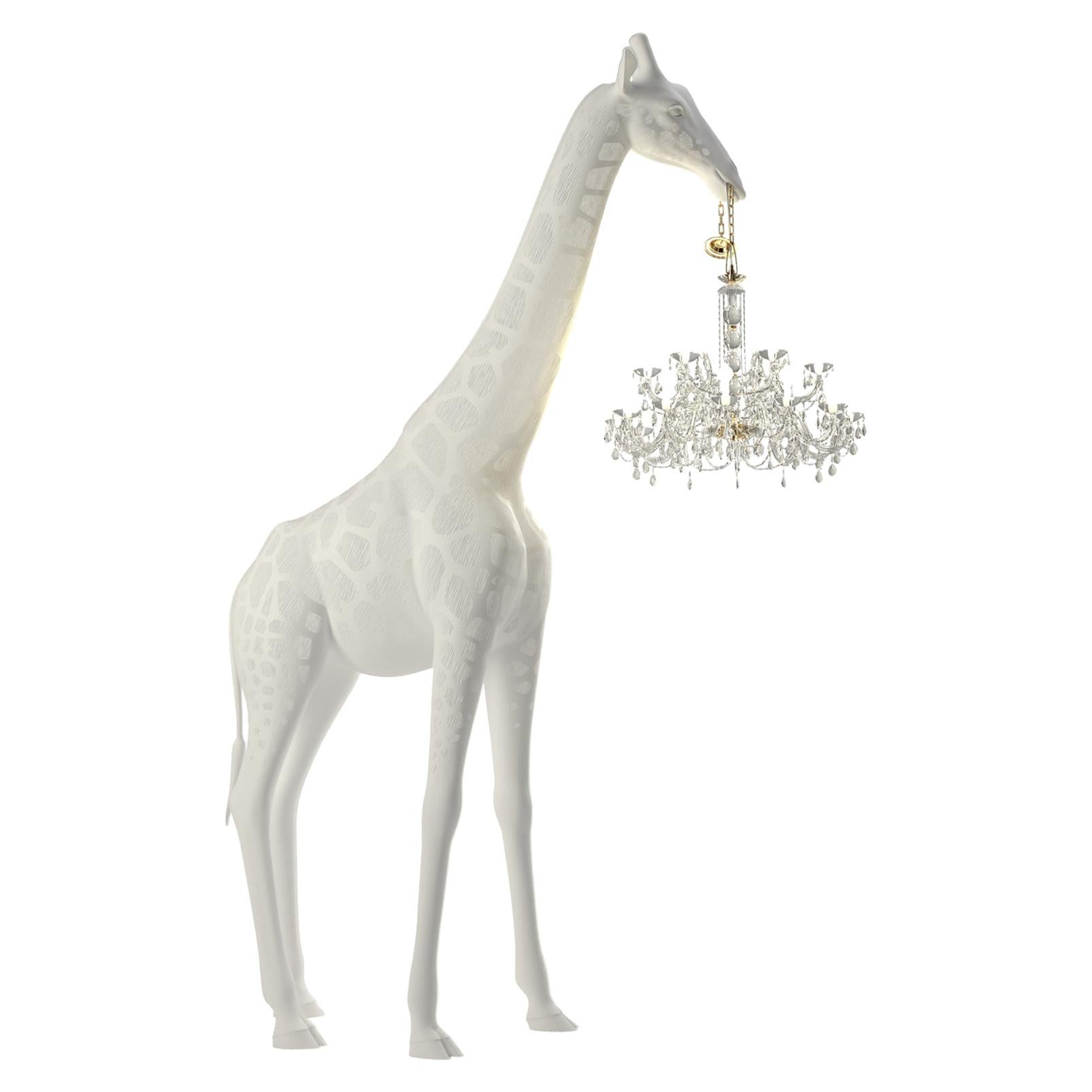 13 Feet Tall Life-Size White Giraffe Outdoor Chandelier, Designed by Marcantonio