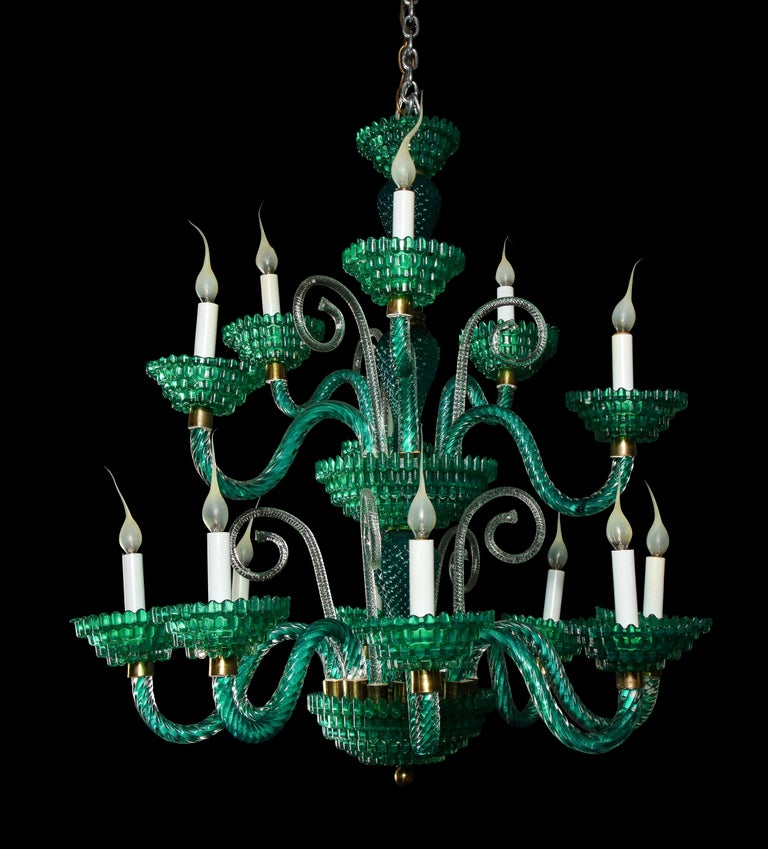 Hand-Crafted Unique and Large Antique Art Deco Italian Murano Glass Green Chandelier For Sale