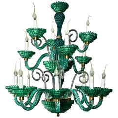 Unique and Large Antique Art Deco Italian Murano Glass Green Chandelier