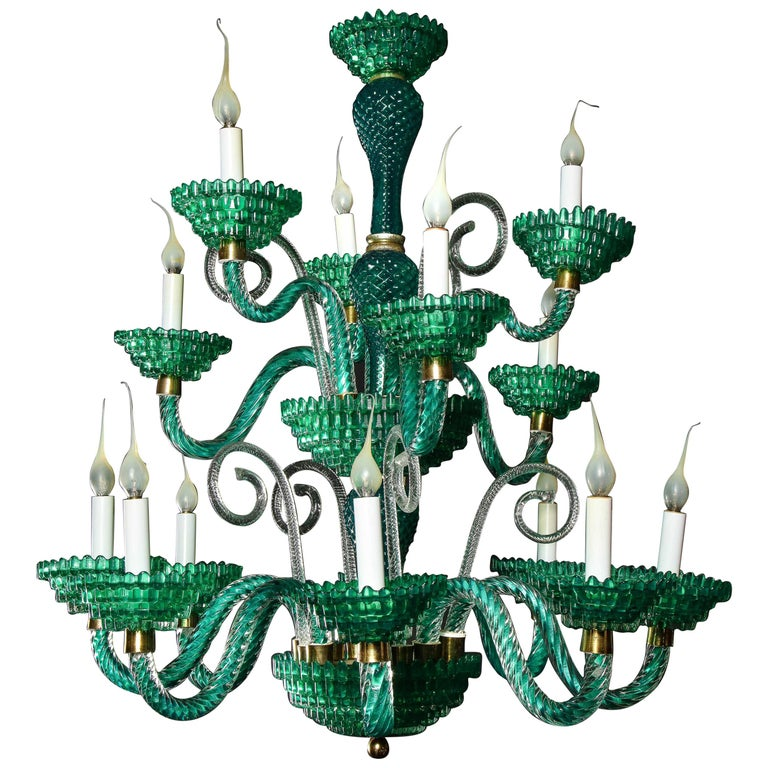 Unique and Large Antique Art Deco Italian Murano Glass Green Chandelier For Sale