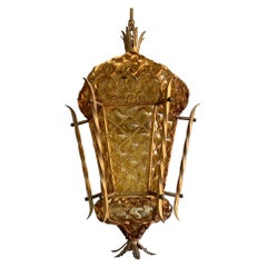 Unique and Large Venetian Pendant, Mouth Blown Glass in Gold Painted Metal Frame