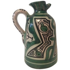 Unique and Powerful Ceramic Pitcher Signed by Domingo Punter of Spain
