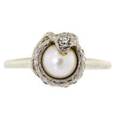 Unique and Rare Platinum Diamond Pearl Vintage Snake Ring