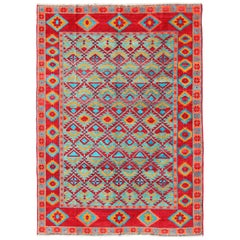 Unique and Vibrant Turkish Oushak Rug with Colorful and Bright Diamond Design