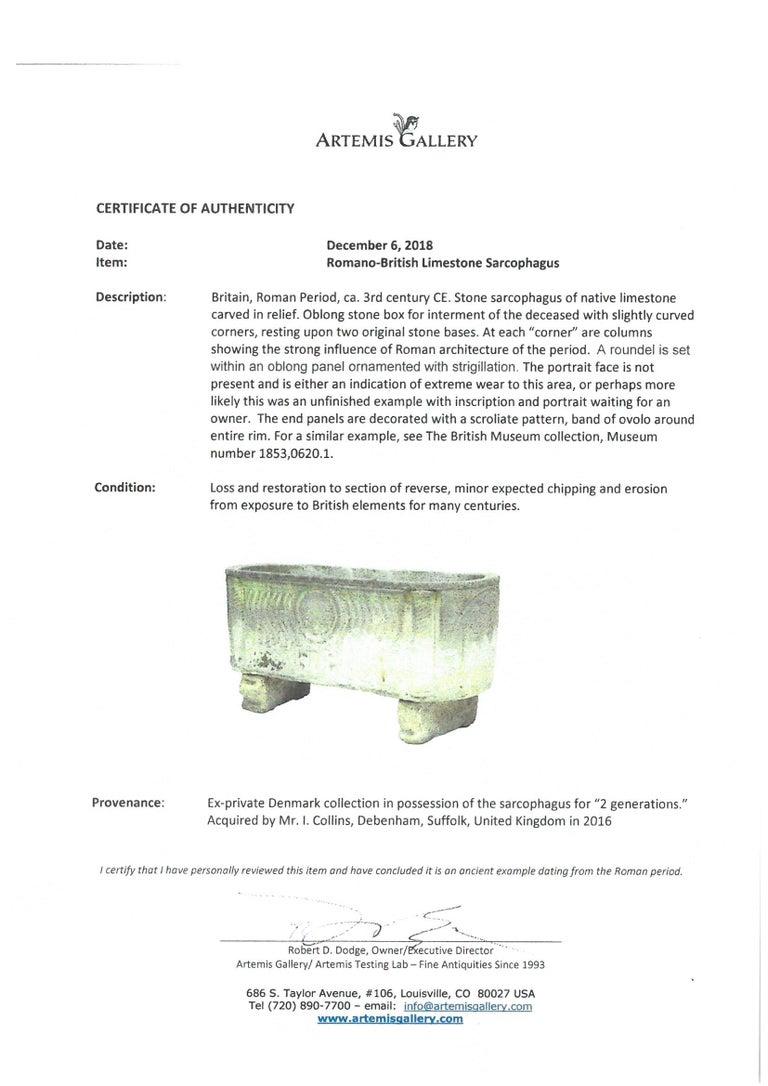 Unique Anglo Roman Limestone Sarcophagus For Sale 3