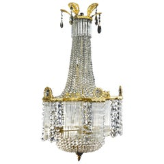 Unique Antique French Louis XVI Style Gilt Bronze and Cut Crystal Chandelier