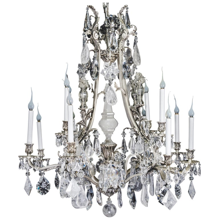 Unique Antique French Louis XVI Style Silver Bronze and Rock Crystal  Chandelier For Sale - Unique Antique French Louis XVI Style Silver Bronze And Rock Crystal