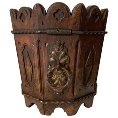 Unique Antique Gothic Revival Carved Oak Jardinière Plant Stand with Zinc Liner