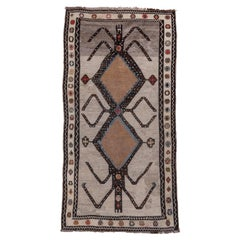 Unique Antique Persian Gabbeh Rug, Taupe Field, Colorful Accents, Circa 1920s