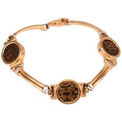 Unique Antique Roman Coin Gold Bracelet