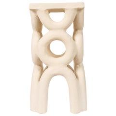 Unique Arch Square White Stool by Mesut Öztürk