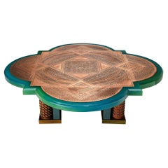 Unique Armand Jonckers Coffee Table in Green Resin and Copper