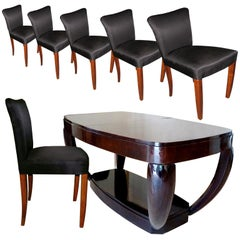 Unique Art Deco Extendable Table by Hubert Martin and Ploquin and Six Chairs