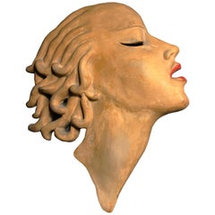 Unique Art Deco Period Ceramic Wall Mask by Dr Rank Rezso, Hungary, 1930s