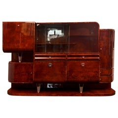 Unique Art Deco Secretary Sideboard from Czechoslovakia, Walnut Burl, 1930-1939