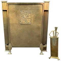 Unique Art Deco Set of a Bronze & Brass Firescreen with Matching Tools in Holder
