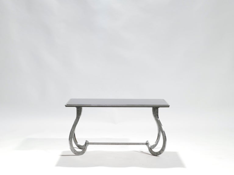 French Unique Art Deco Wrought Iron Coffe or Side Table, 1940s For Sale
