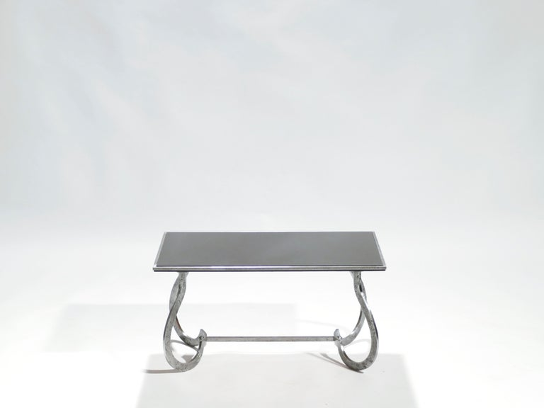 Mid-20th Century Unique Art Deco Wrought Iron Coffe or Side Table, 1940s For Sale