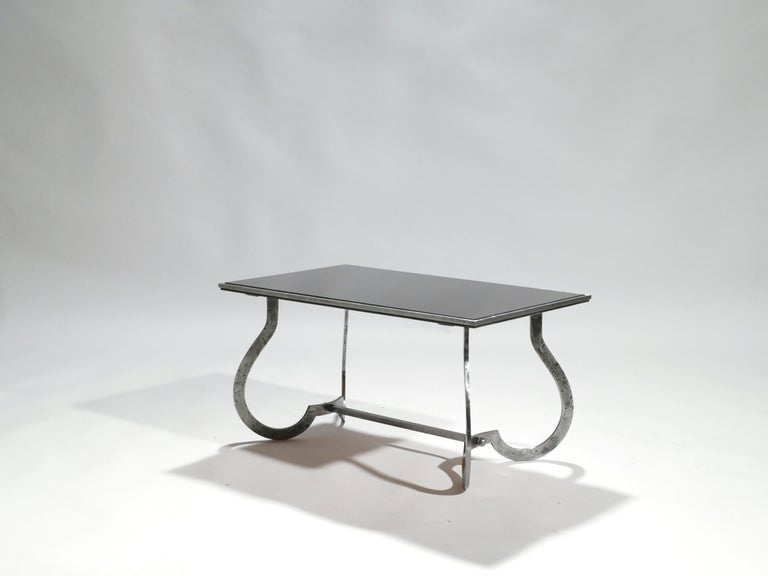 Opaline Glass Unique Art Deco Wrought Iron Coffe or Side Table, 1940s For Sale