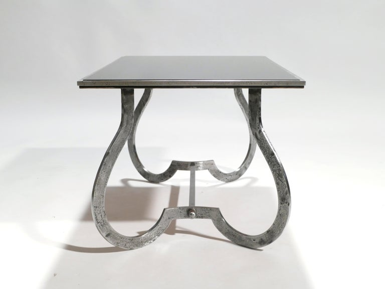 Unique Art Deco Wrought Iron Coffe or Side Table, 1940s For Sale 1