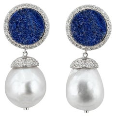 Olympus Art Certified Unique Art Denim Indigo Blue Earrings
