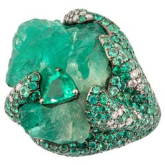 Olympus Art Certified Unique Art, Natural Emerald Power Ring