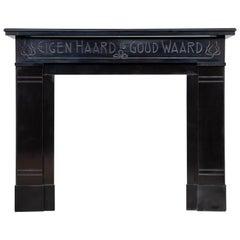 Unique Art Nouveau Noir de Mazy Marble Antique Circulation Fireplace