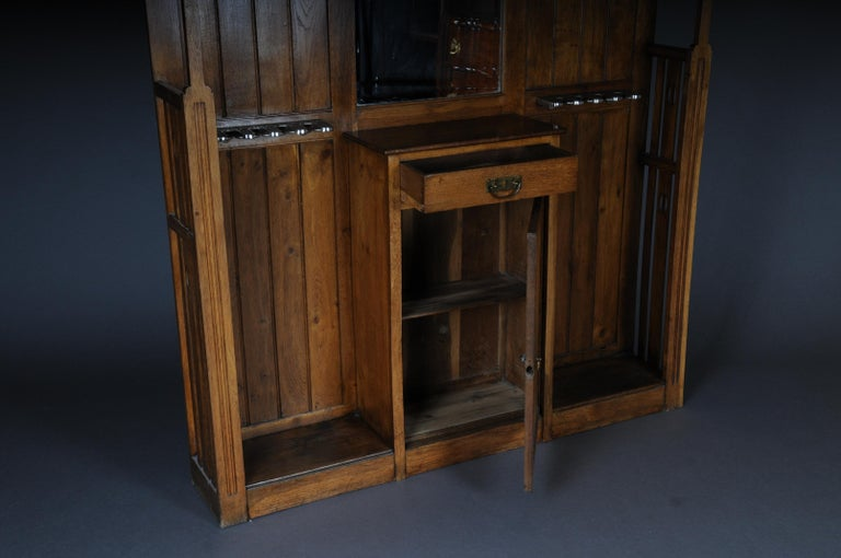 Unique Art Nouveau Wall Wardrobe Oak, circa 1900 For Sale 6