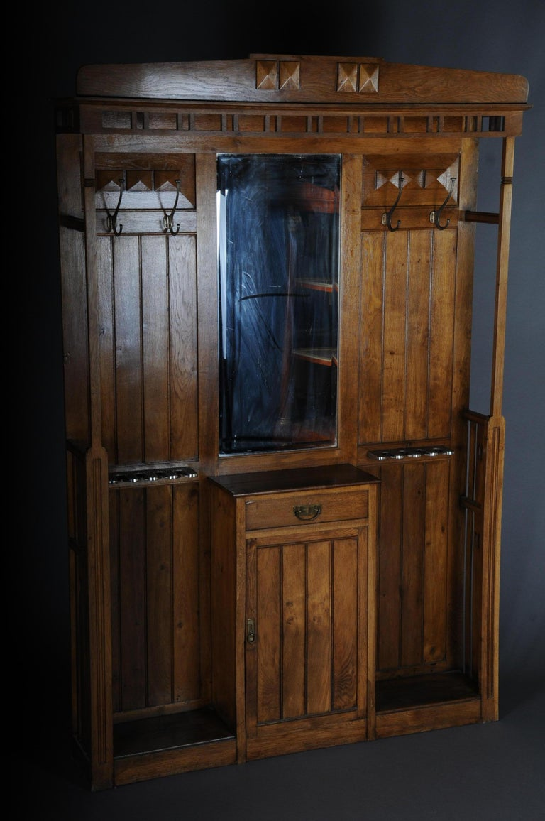 German Unique Art Nouveau Wall Wardrobe Oak, circa 1900 For Sale