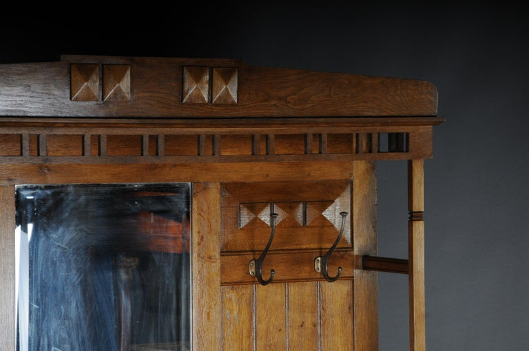Late 19th Century Unique Art Nouveau Wall Wardrobe Oak, circa 1900 For Sale