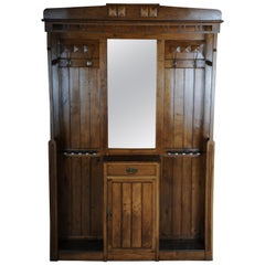 Unique Art Nouveau Wall Wardrobe Oak, circa 1900
