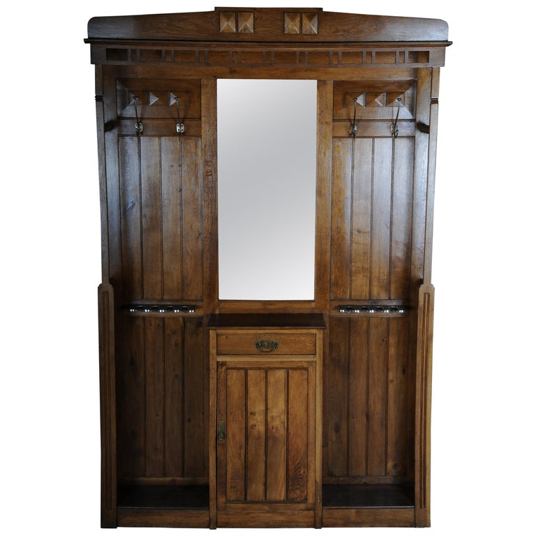 Unique Art Nouveau Wall Wardrobe Oak, circa 1900 For Sale