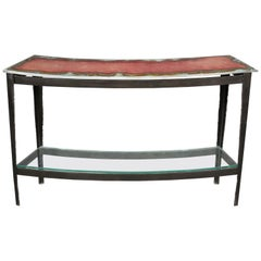 Unique Art Studio Made Melted Stained Glass Curved Console Table Steel Base