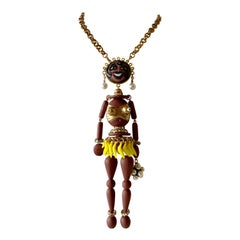 Unique  Artisan Galalith Josephine Baker Statement Pendant Necklace