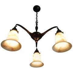 Unique Arts & Crafts Brass and Opaline Art Glass Chandelier / Pendant Light
