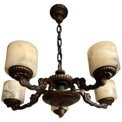 Unique Arts & Crafts Alabaster and Bronze Chandelier with Wizard Like Sculptures