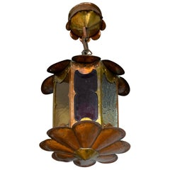 Unique Arts & Crafts Patinated Copper & Cathedral Glass Pendant Light / Fixture