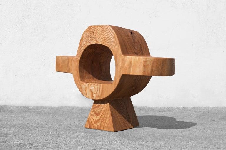 Organic Modern Unique Ash Console Sculpted by Jörg Pietschmann For Sale
