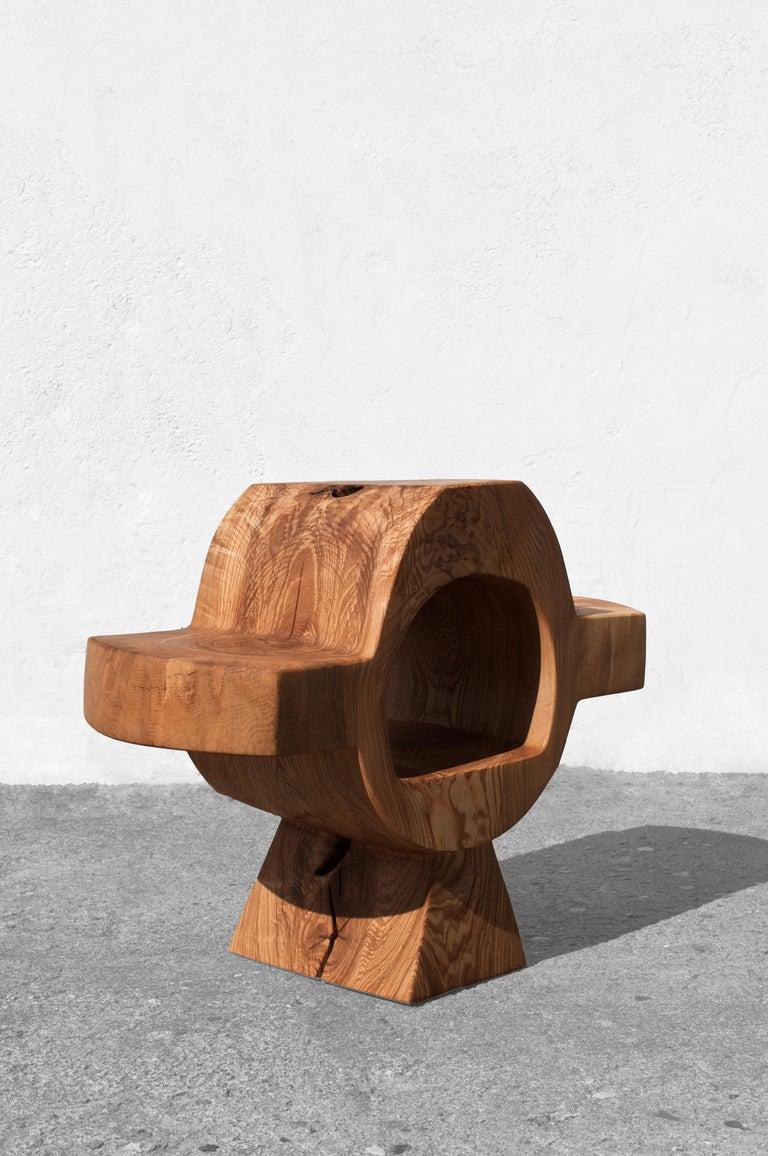 German Unique Ash Console Sculpted by Jörg Pietschmann For Sale