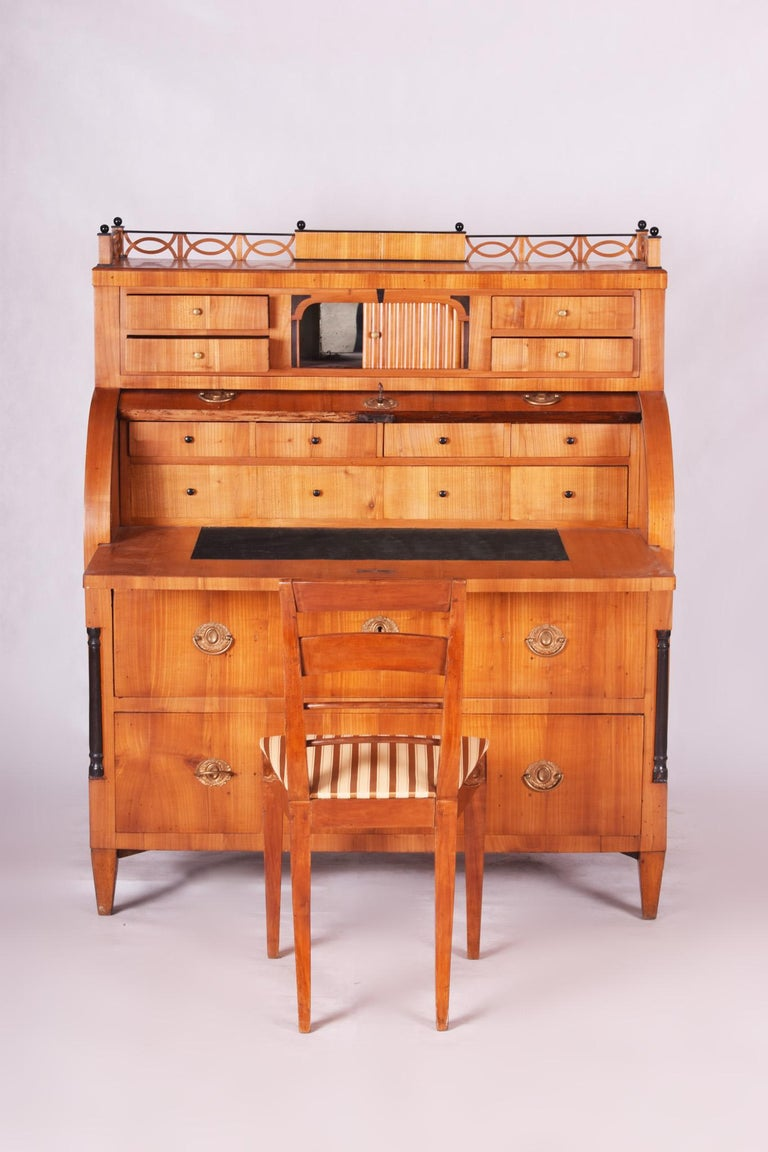 Unique Austrian Empire Cylinder Secretary/Writing Desk, Material Cherry, Wien For Sale 4
